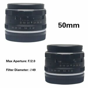 Meike 50mm F2.0 Large Aperture Manual Focus Lens APS-C For Nikon1 V1 J1 Camera