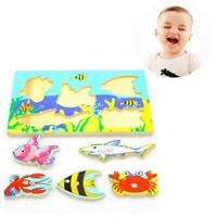 Magnetic Fishing Game 3D Jigsaw Puzzle Board Kids Educational Wooden Toy Gift