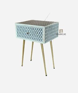 Handmade Bone Inlay One Drawer Bedside Table Gold Coated Leg Stand