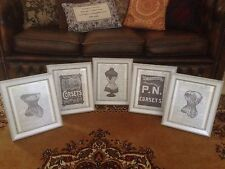 Vintage Feature Wall Photo Picture Frames FRAMED Art Images Corset Advertising