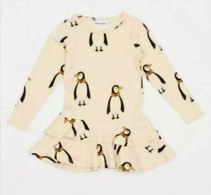 Nwt Mini Rodini Size 116-122 Girls Penguin Dress Organic Cotton
