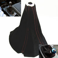 Black Suede/Red Stitch Manual/Auto Gear Shift Shifter Boot Cover For Hyundai Kia