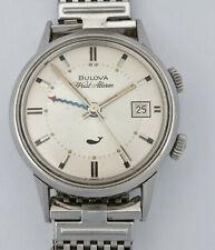 Alarma De Pulsera Bulova escaso ballena Fecha Reloj de Hombre Vintage