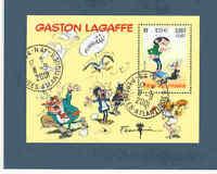 BLOC-FEUILLET FÊTE DU TIMBRE GASTON LAGAFFE - OBLITÉRÉ - PERSONNAGE DE B.D.