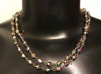 "Vintage Estate Multi-Color Beaded Choker 17"" Two Strand Necklace"