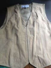 Marsh Landing Ladies Size Small Cream Suede Leather Vest Zip Up Front Lined