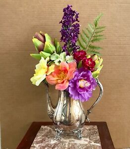 Floral Arrangement Multi-Colored Silk Flowers Rogers Silver Plated Coffee Pot