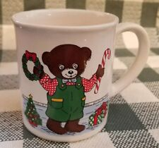 Vintage ALCO Ind. Holiday Christmas Cup Of Boy & Girl Bears~Made in Romania VF!