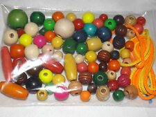 PRE SCHOOL NURSERY 60 ASSORTED SIZES COLOURS SHAPES THREADING WOODEN BEADS LACES
