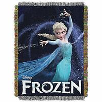 "Disney Frozen Queen of Ice Throw Blanket 48""x60"" Elsa Anna Olaf Woven Tapestry"