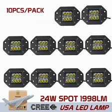 "10X 5"" 24W LED Work Light Bar Spot Fog Cube Pods Offroad Flush Mount 3X3 ATV SL"