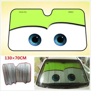 Cartoon Big Eye Car Front Window Windscreen Cover Sun Shade Auto Sun Visor-Green