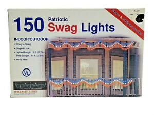 Swag Style Lights, Red White Blue, Indoor Outdoor,  LIGHT SET  150 Bulbs - 10 ft