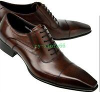 Mens Real Leather Pointed Toe Dress Fashion Formal Lace Up Wing Tip Brogue Shoes