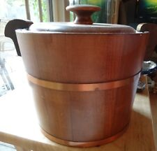 1950 Vintage Retro Wood Copper Ice Bucket & Lid with White Ceramic Pottery Liner