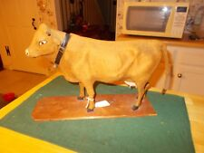 LATE 1800S EARLY 1900S LARGE SIZE COW PULL TOY WITH MOVING HEAD THAT MOOS GREAT