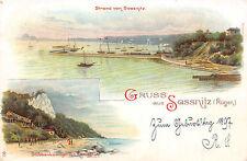 Sassnitz Rügen Strand von Sassnitz Schiffe Grusspostkarte 1897