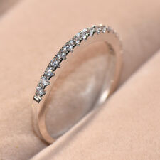 Eternity White Sapphire CZ Simple Ring White Gold Stackable Band Jewelry Sz 5-10