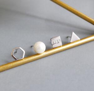 Classic Silver Earrings 925 Sterling Silver Pearl Ear Studs Earrings Women 4pcs