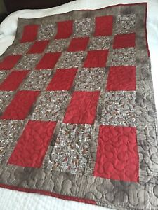 "Handmade Quilt or throw Size 46""x 60""; Mushroom Print with red Blocks. A122"