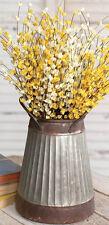 VASE WEDDING BUCKET PAIL Corrugated Metal w/handles Tapered Utensil Holder