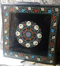 3'x3' black marble table top coffee dining inlay lapis malachite room decor c202
