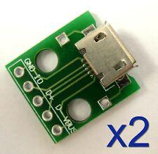 2x connecteur micro USB femelle PCB / 2x Micro USB connector & PCB board plate