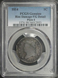 1814 Plain 4 Classic Head Large Cent PCGS VG Details Rim Damage