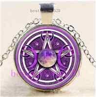 Celtic Pentagram Moon Cabochon Glass Tibet Silver Chain Pendant Necklace