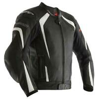RST R-Sport CE Motorcycle Motorbike Leather Jacket Black / White
