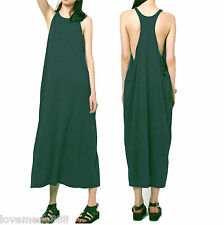 Womens Sexy Casual Club Racer Tank Back Side Open Loose Long Maxi Dress GREEN XL