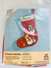Vintage LeeWards Creative Crafts Crewel Snowman Stocking Kit, Dated 1976