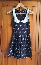 Navy Blue & White Collared Fit&Flare Short Horse Pattern Summer Sun Dress Size 6