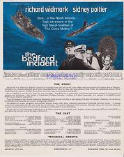 THE BEDFORD INCIDENT BRITISH SCREENING SHEET SIDNEY POITIER RICHARD WIDMARK 1965