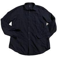 Uniqlo Men's Medium Slim Fit Button Down Shirt Black Cotton B