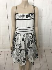 SHAREEN Sz 14 Black & White Sleeveless Full Skirt Dress A- Line 100% Cotton