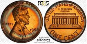 1968-S 1c LINCOLN MEMORIAL PENNY BU PCGS PR65RB COLOR CIRCLE TONED IN HIGH GRADE