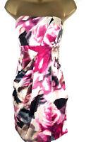 Karen Millen Rose Print Pink Floral Strapless Dress Cocktail Party womens UK Sz