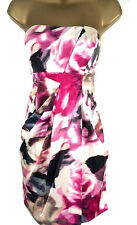 Karen Millen Silk Rose Print Dress Pink Floral Strapless UK Size 10 12 14 14