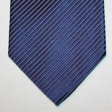 NEW Kenneth Cole Silk Neck Tie Dark Blue with Light Blue Stripes 1542