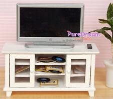 1:12 Dollhouse Miniature TV And TV Cabinet/Stand/ Bench 2PCS