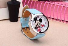 Bambine Mickey Mouse Azzurro Orologio Da Polso Analogico Cinturino Pelle UK SLIM