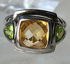 JUDITH RIPKA Sterling Silver Citrine & Peridot Ring Size 6.5