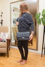 VERIFIED Auth Chanel Classic 2.55 Quilted Black Caviar Jumbo Double Flap Bag SHW