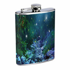 Fireflies D1 Flask 8oz Stainless Steel Hip Drinking Whiskey Insect Glow Bugs