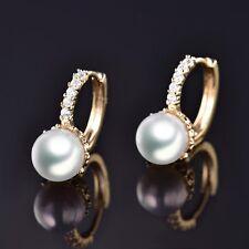 18K Yellow Gold Filled Womens White Pearl Swarovski Crystal Hoop Huggie Earrings