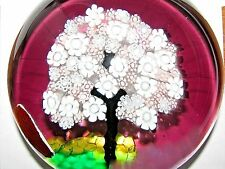 "Lovely MURANO TREE PAPERWEIGHT: Purple, White/Pink Pastel Canes,3.75"", Italy Tag"