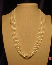 """A 6-Strand Fresh-water Pearl Necklace, 18"""", Top quality, Free-style, Classy"""