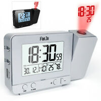 Digital Alarm Clock Date Snooze Function Backlight Rotatable Ceiling Projector
