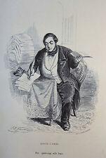 Caricature Humour GRANDVILLE Jérome Paturot REYBAUD Machine à signer 1846